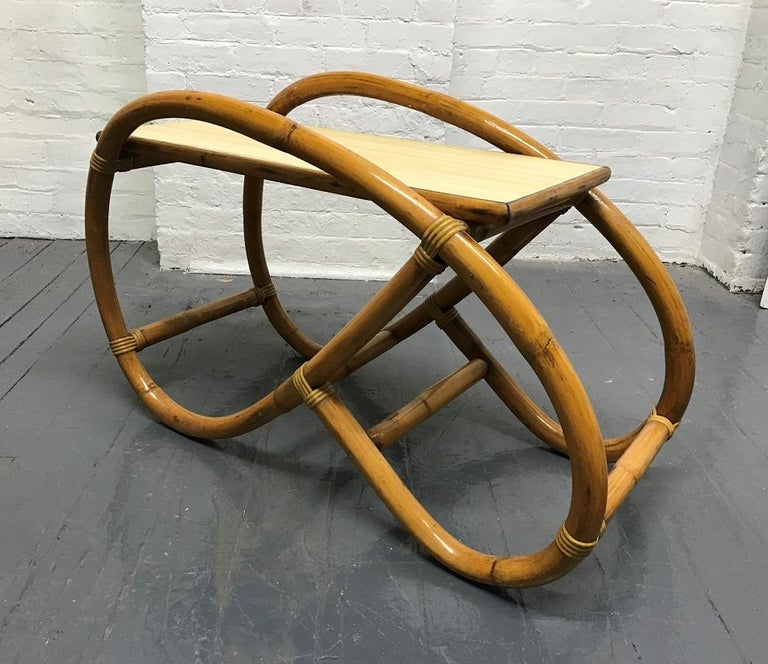 Mid-Century Modern Pair of 1960s Rattan End Tables For Sale