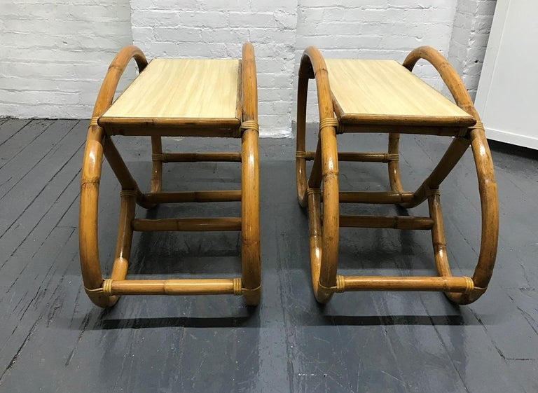 Laminated Pair of 1960s Rattan End Tables For Sale