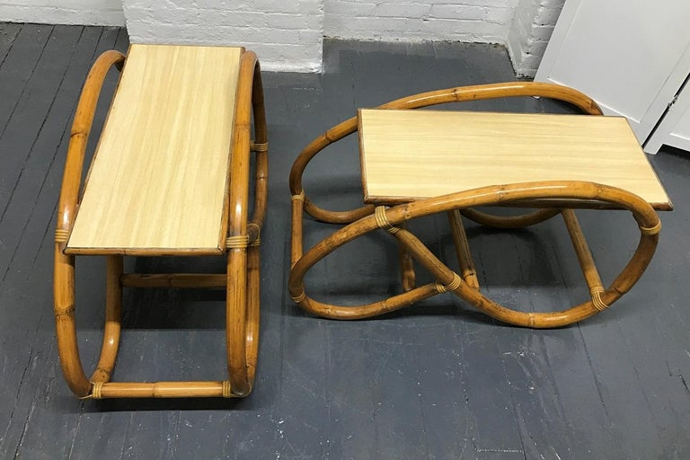 Pair of 1960s Rattan End Tables In Good Condition For Sale In New York, NY