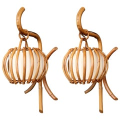 "Pair of 1960s Rattan ""Lantern"" Sconces Attributed to Louis Sognot"