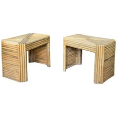 Pair of 1960's Reeded Rattan Tables