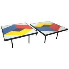 Pair of 1960s Reverse Painted Glass Geometric Abstract Coffee Tables