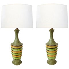 Pair of 1960s Ribbed Ovoid-Form Lamps with Green Textured Glaze