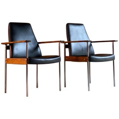 Pair of 1960s Rosewood, Black Sven Ivar Dysthe Armchairs 'Norwegia'