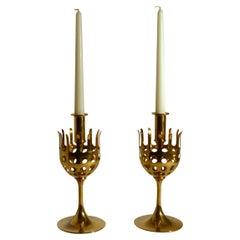 Pair of 1960s Scandinavian Brass Candleholders