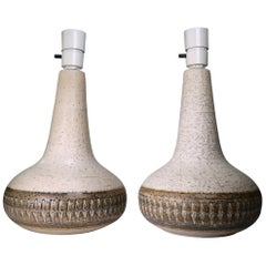 Pair of 1960s Scandinavian Modern Cream White, Brown Stoneware Table Lamps