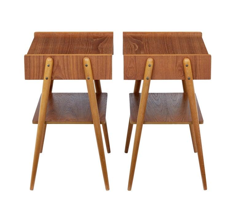 Scandinavian Modern Pair of 1960s Scandinavian Teak Bedside Tables For Sale