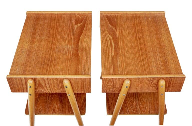 Danish Pair of 1960s Scandinavian Teak Bedside Tables For Sale