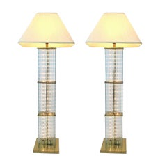 Pair of 1960s Sciolari Brass and Glass Rod Floor Lamps