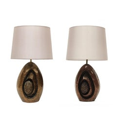 Pair of 1960s Sculptural Bronzed Resin Phandeve Table Lamps