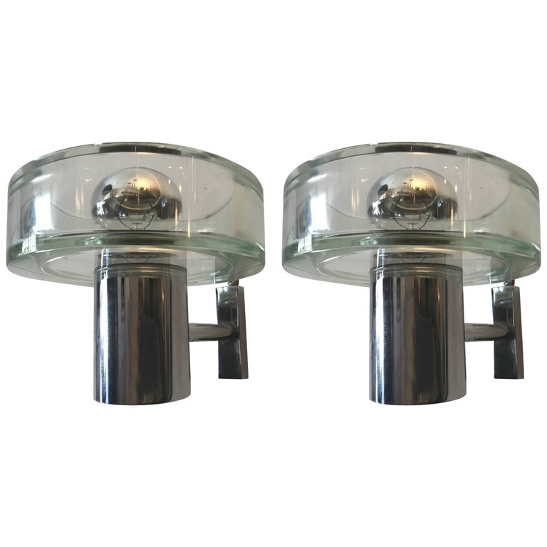Pair of 1960s Seguso Murano Glass Wall Lights For Sale