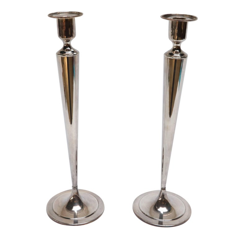 Pair of 1960s Silverplated Fairpoint Candlesticks