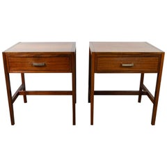 Pair of 1960s Single Drawer Walnut Bedside Tables Heals of London