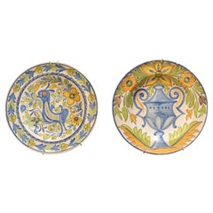 Pair of 1960s Spanish Painted Glazed Terracotta Ceramic Plates