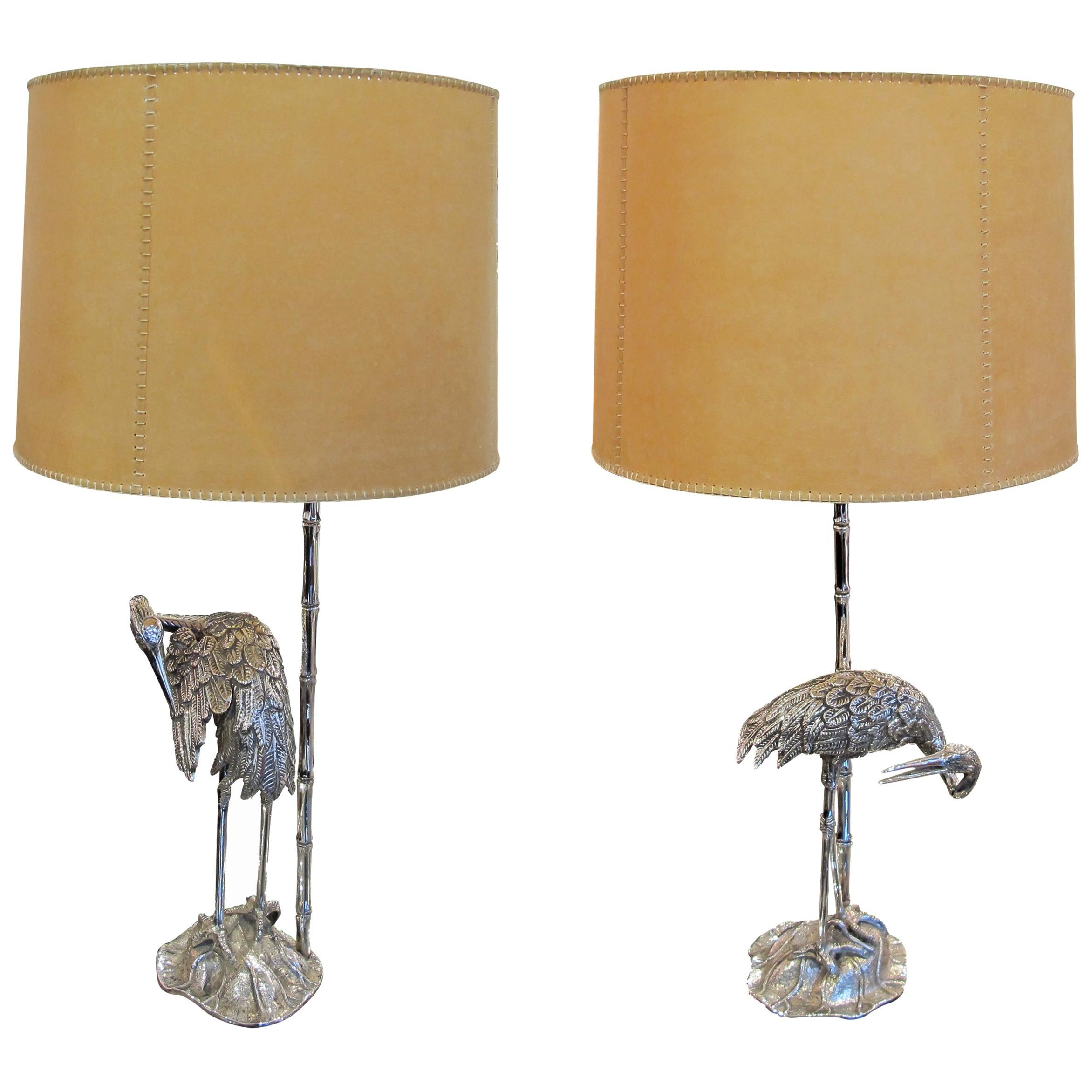 Pair of 1960s Spanish Silver Plated Bronze Heron Table Lamps by Valenti
