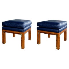 Pair of 1960's Square-Form Faux Bamboo Beechwood Stools with Brass Mounts