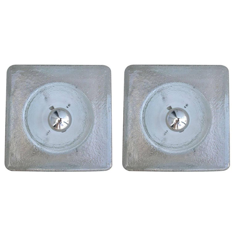 Pair of 1960s Square Textured Glass Sconces