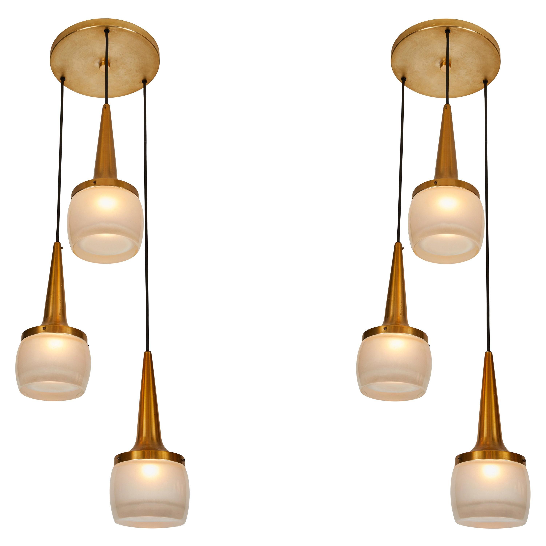 Pair of 1960s Staff Leuchten Large 3-Pendant Chandeliers