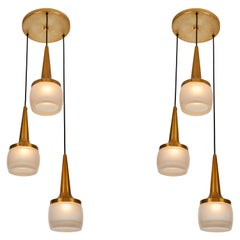 Pair of 1960s Staff Leuchten Large 3-Pendant Chandeliers