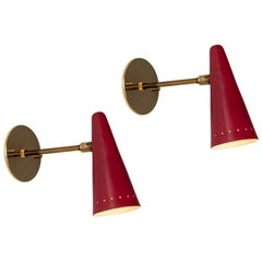 Pair of 1960s Stilux Articulating Red Cone Sconces