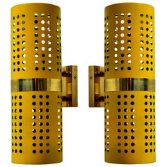 Pair of 1960s Style Wall Lights in Canary Yellow