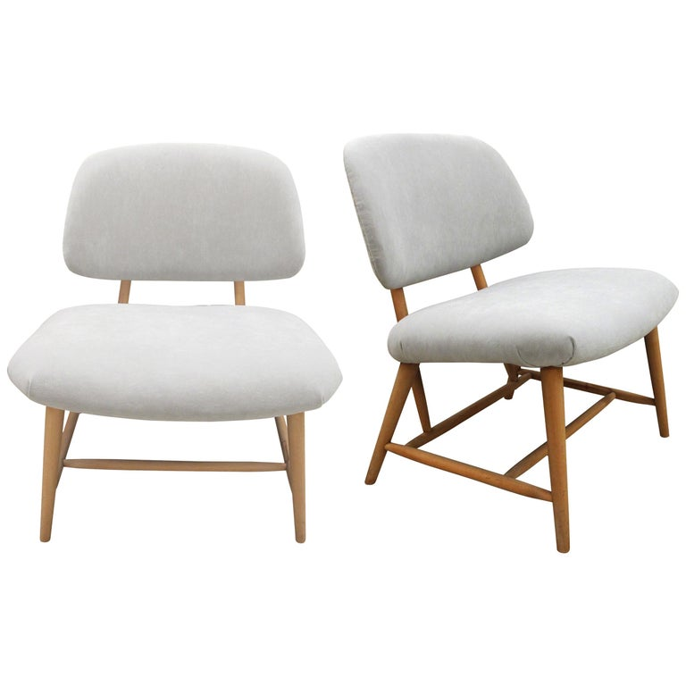 Pair of 1960s Swedish Alf Svensson Occasional Lounge Chairs Newly Reupholstered For Sale