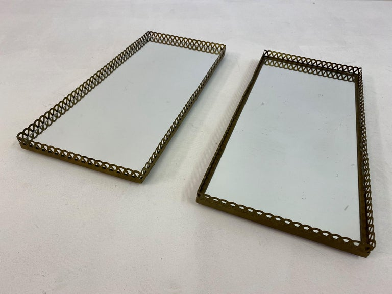 Pair of 1960s Swedish Brass Mirrored Trays or Plateaus For Sale 5