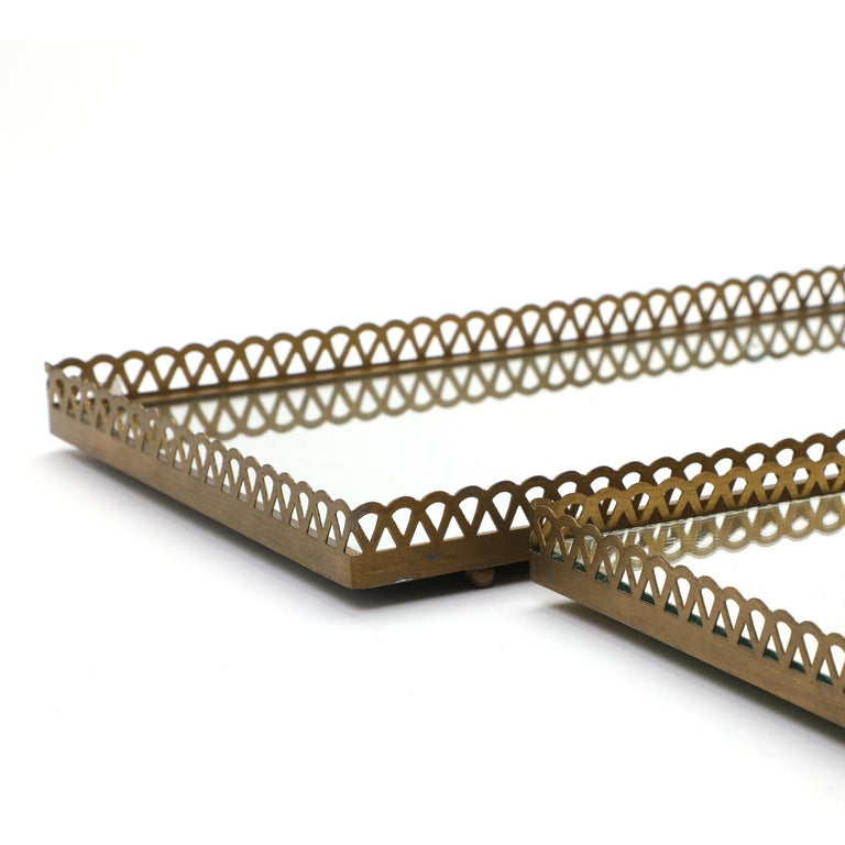 Pair of 1960s Swedish Brass Mirrored Trays or Plateaus For Sale 6