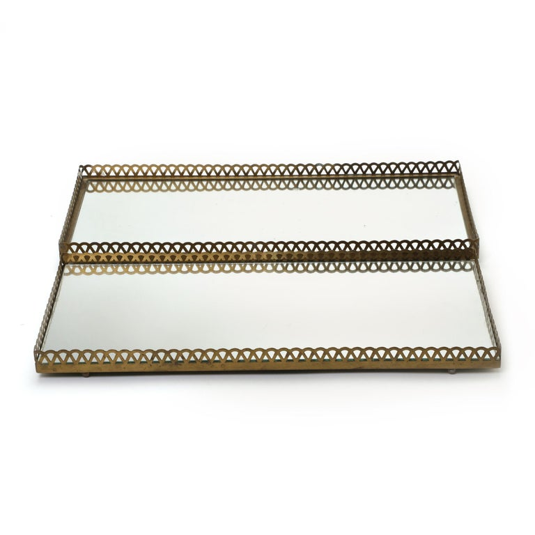 Pair of 1960s Swedish Brass Mirrored Trays or Plateaus For Sale 7