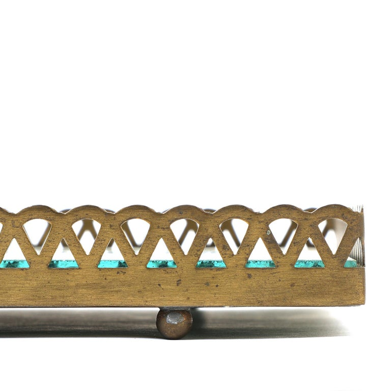 Pair of 1960s Swedish Brass Mirrored Trays or Plateaus For Sale 9