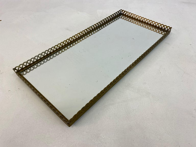 Mid-Century Modern Pair of 1960s Swedish Brass Mirrored Trays or Plateaus For Sale