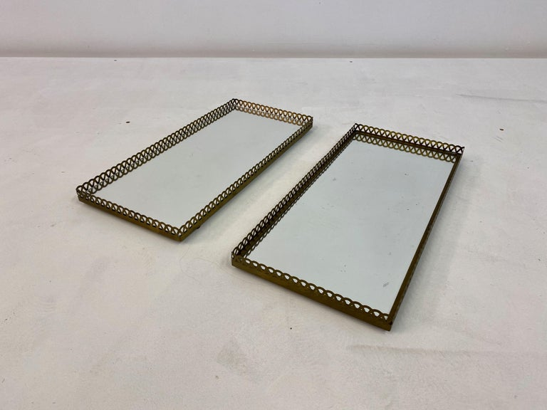 Pair of 1960s Swedish Brass Mirrored Trays or Plateaus For Sale 1