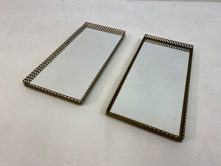 Pair of 1960s Swedish Brass Mirrored Trays or Plateaus For Sale 3