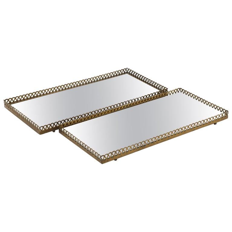 Pair of 1960s Swedish Brass Mirrored Trays or Plateaus For Sale