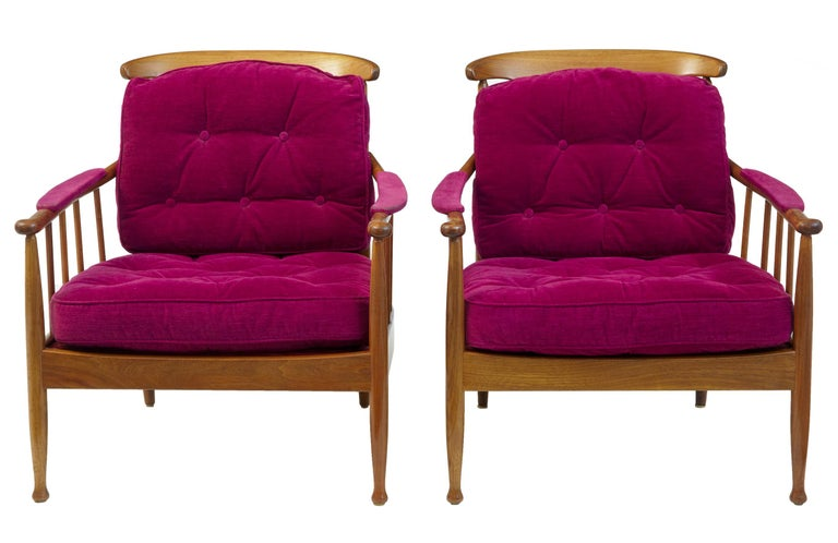 Scandinavian Modern Pair of 1960s Swedish Walnut Ope Mobler Lounge Chairs For Sale