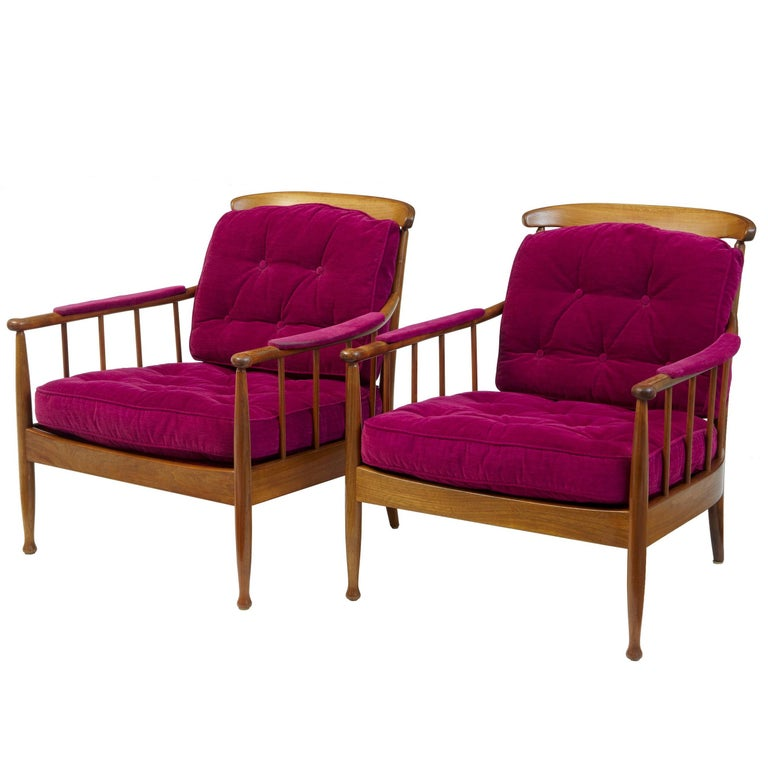 Pair of 1960s Swedish Walnut Ope Mobler Lounge Chairs For Sale