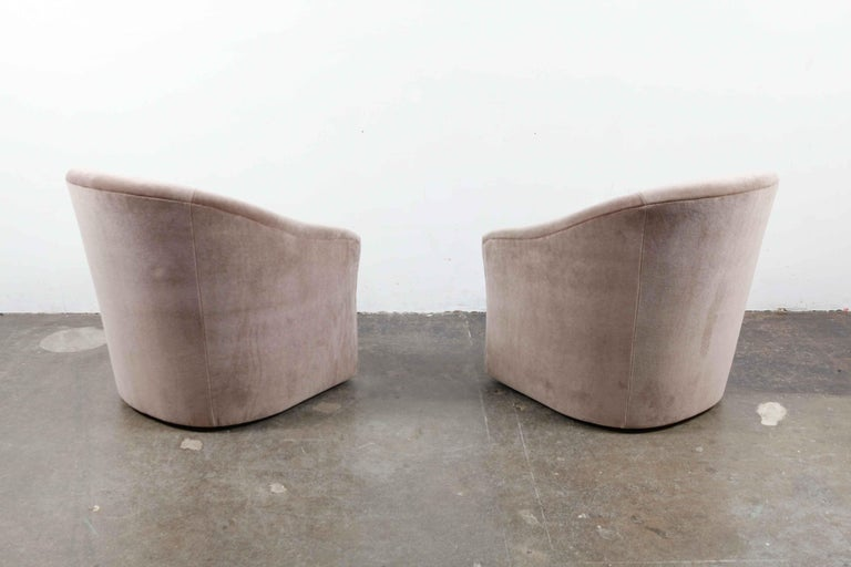 Mid-20th Century Pair of 1960s Swivel Chairs Newly Upholstered in Mohair For Sale