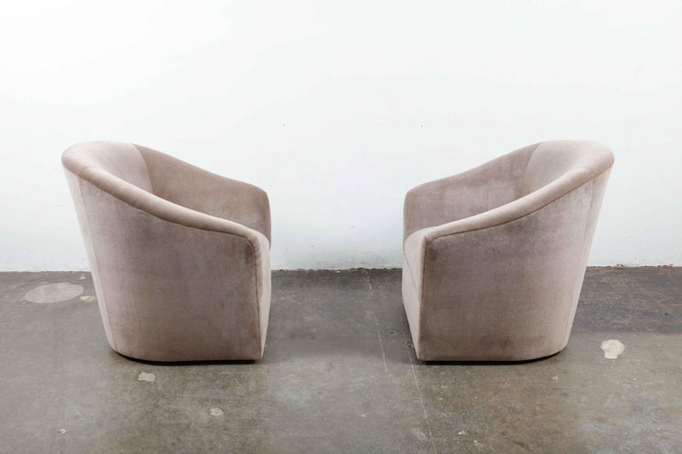 Pair of 1960s Swivel Chairs Newly Upholstered in Mohair For Sale 1