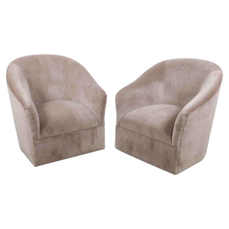 Pair of 1960s Swivel Chairs Newly Upholstered in Mohair For Sale