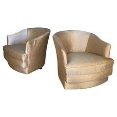 Pair of 1960's Swivel Lounge Chairs by John Stuart