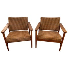 Pair of 1960s Teak Lounge Club Chairs