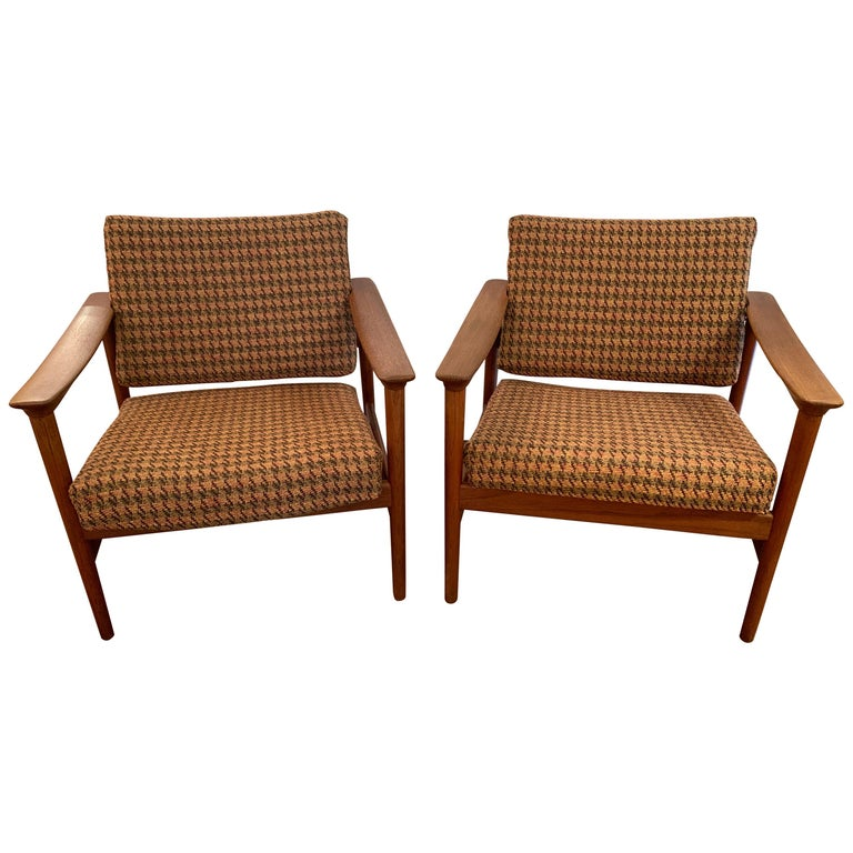 Pair of 1960s Teak Lounge Club Chairs For Sale