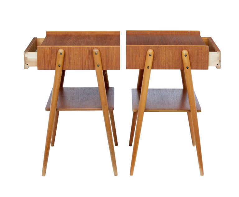 Scandinavian Modern Pair of 1960s Teak Scandinavian Bedside Tables For Sale