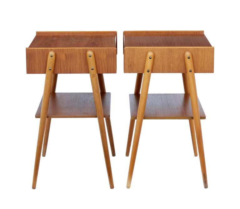 Danish Pair of 1960s Teak Scandinavian Bedside Tables For Sale