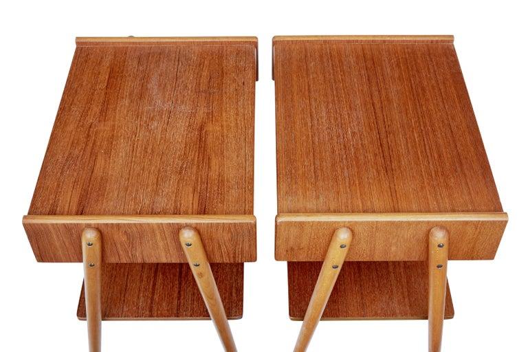 Woodwork Pair of 1960s Teak Scandinavian Bedside Tables For Sale