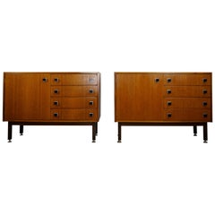 Pair of 1960s Teak Wooden and Black Metal Cabinets
