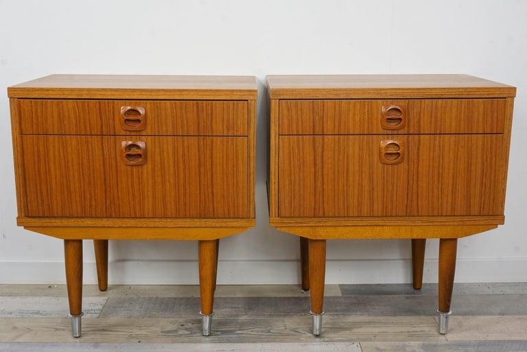 Pair Of 1960s Teak Wooden Bedside Tables