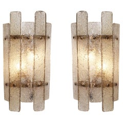 Pair of 1960s Textured Murano Smoky Glass Wall Sconces