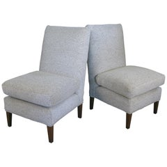 Pair of 1960s Upholstered Slipper Lounge Chairs