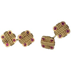 Pair of 1960s Van Cleef & Arpels Gold and Ruby Cufflinks